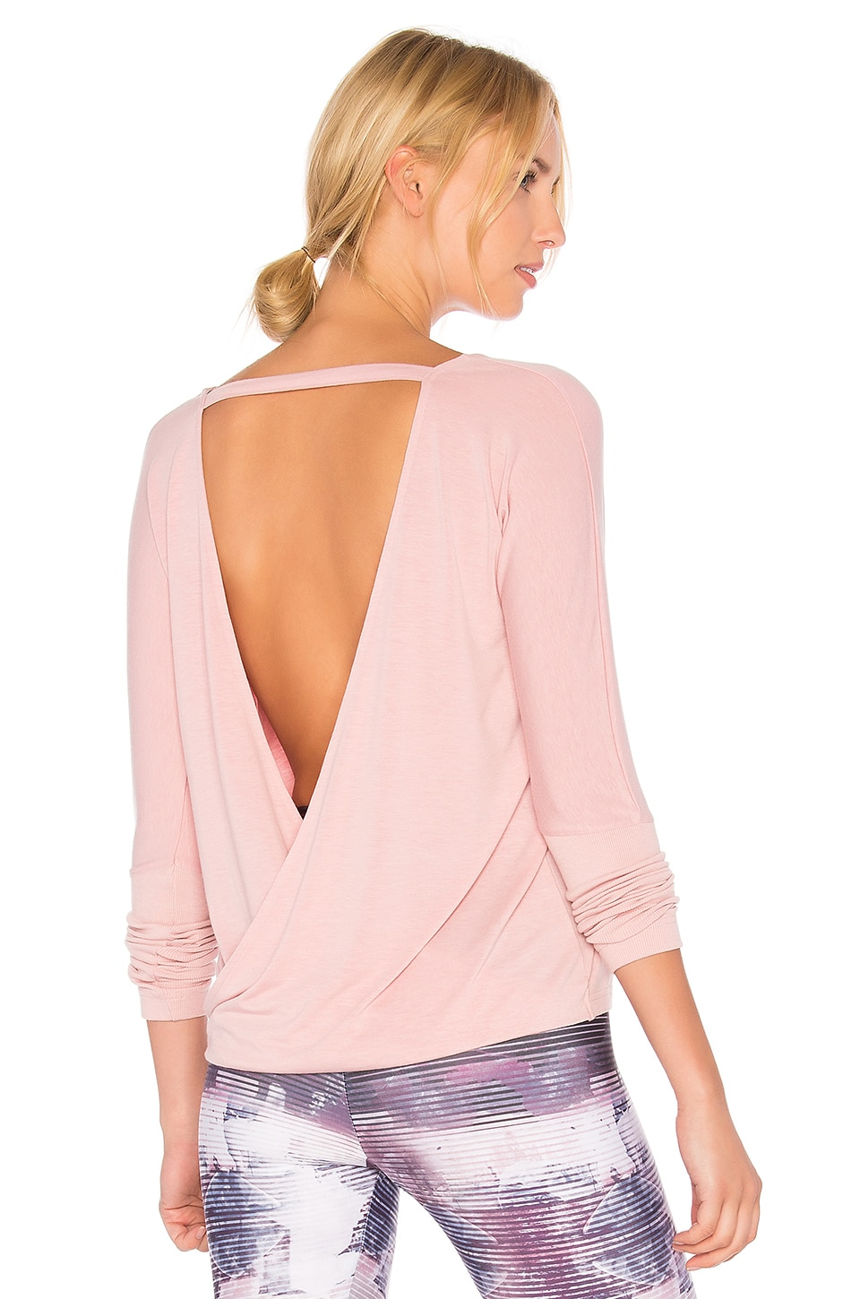 onzie Drapey V Back Tank in Blush
