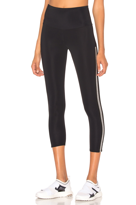 onzie Side Runner Legging in Black & Silver
