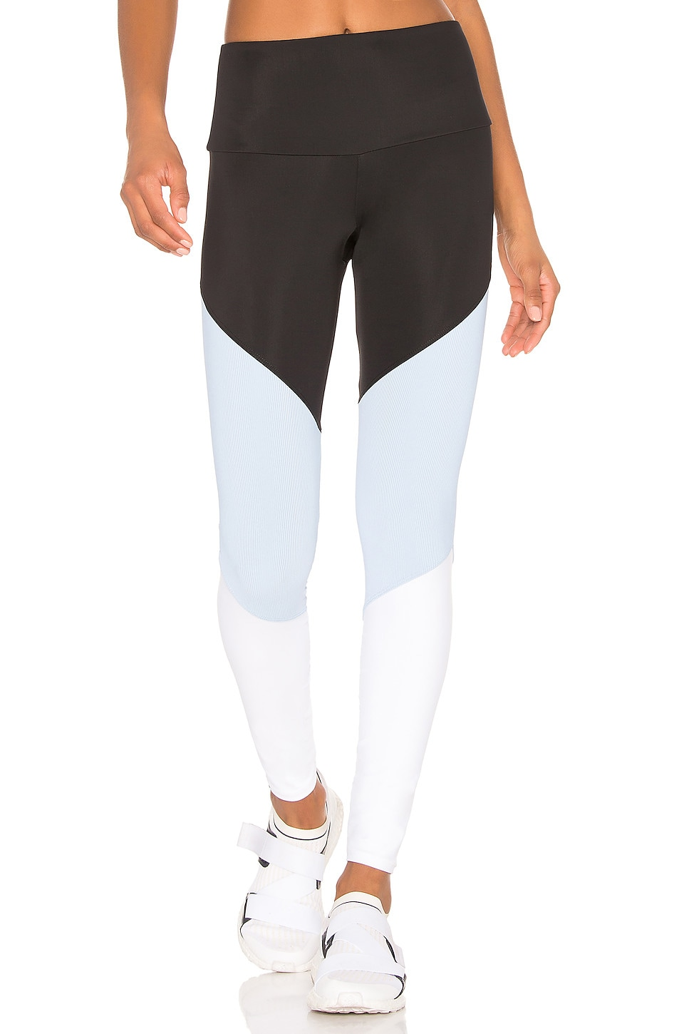onzie High Rise Track Legging in Black, Bouquet & White Rib