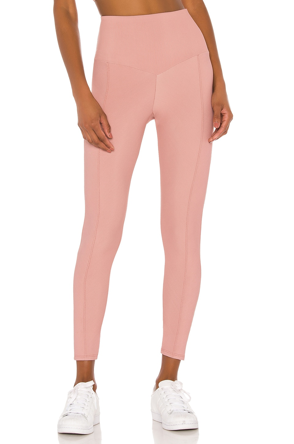 onzie Sweetheart Midi Legging in Antique Rose Rib