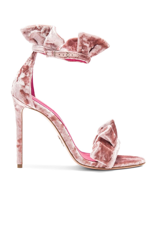 Oscar Tiye Antoinette Heel in Velvet Pink Ciniglia