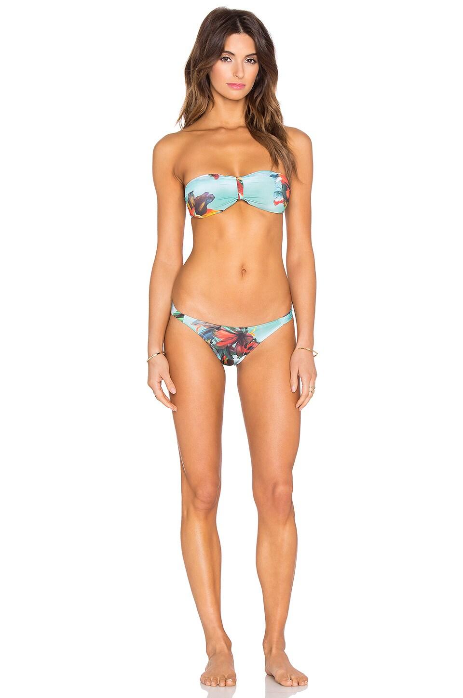 OSKLEN Floral Bandeau Bikini Set in Green Floral