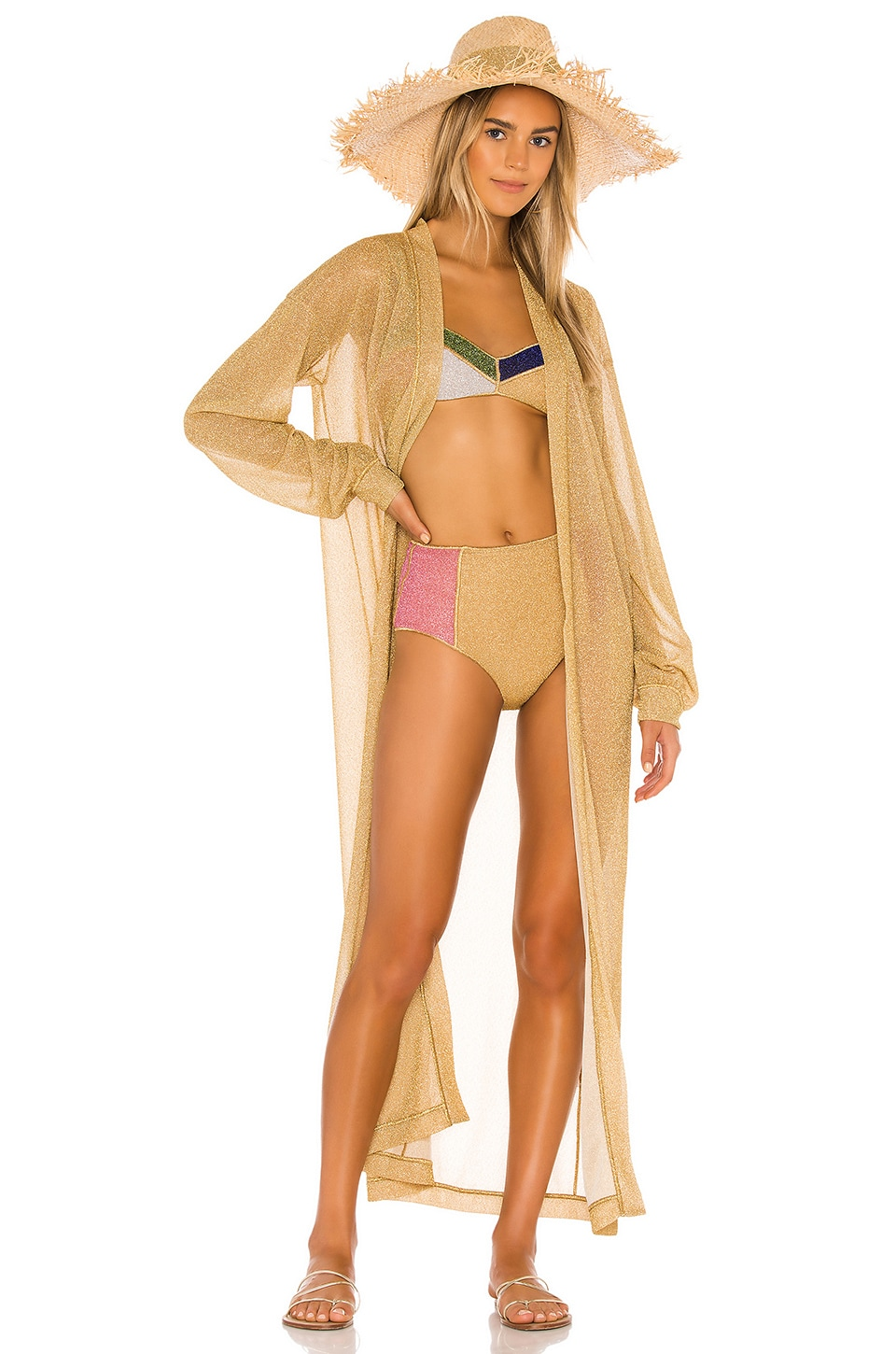 Oseree Lumiere Long Kaftan in Gold