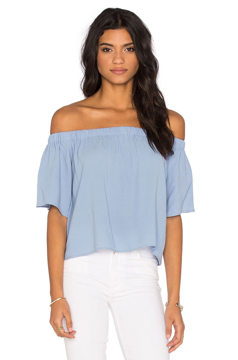 Otis & Maclain Laura Off Shoulder Top in Eastwood Blue