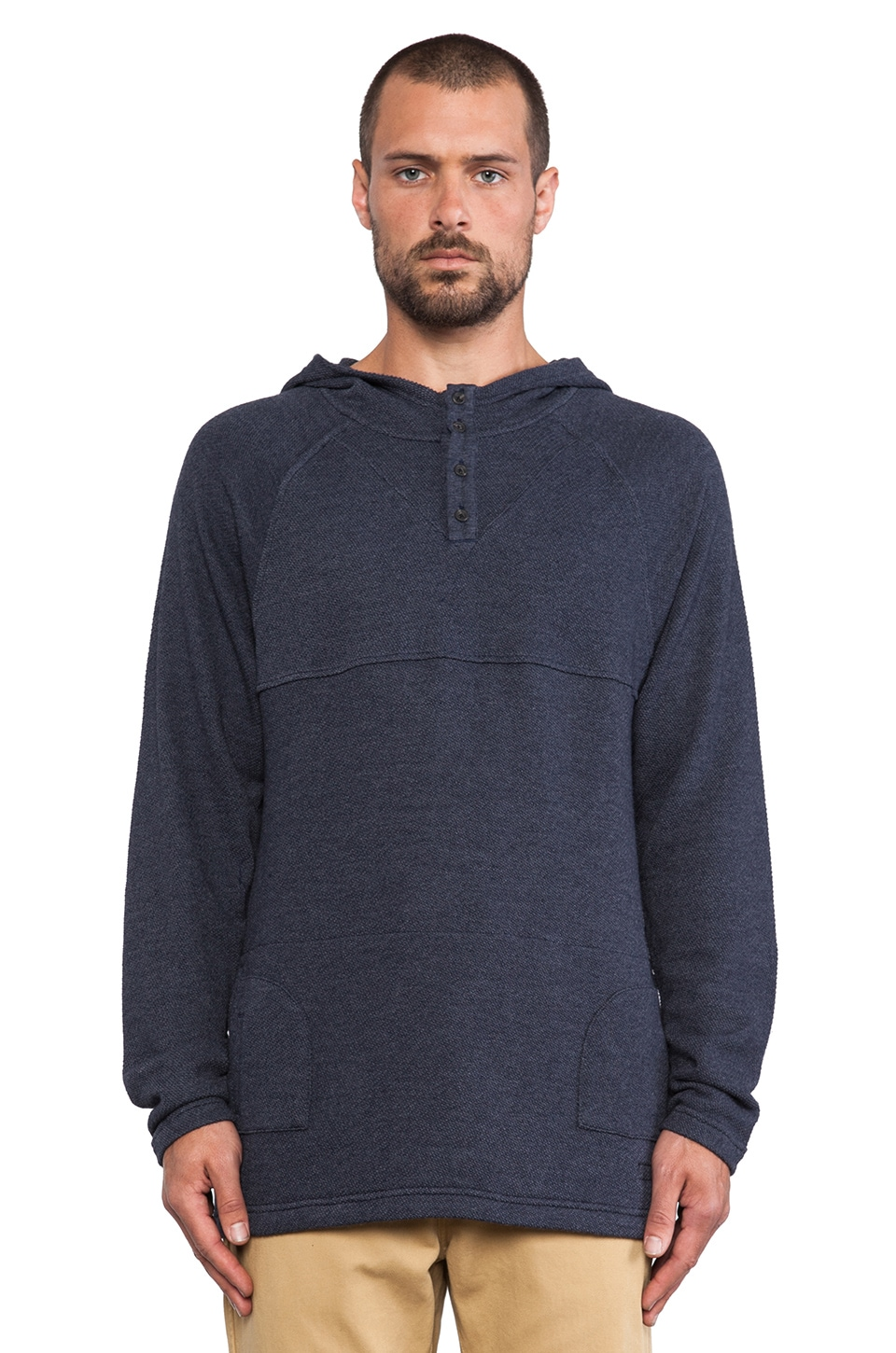 ourCASTE Jerry Hooded Henley in Navy