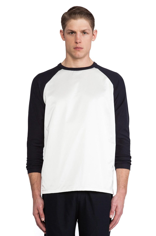 Our Legacy Silk Baseball Shirt in White & Deep Navy