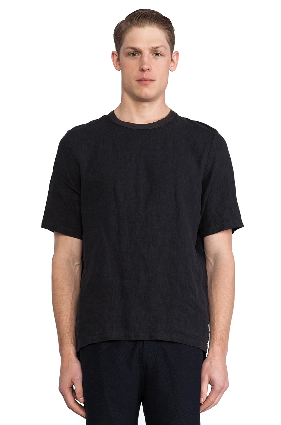 Our Legacy Anthracite Linen Weave Tee in Grey