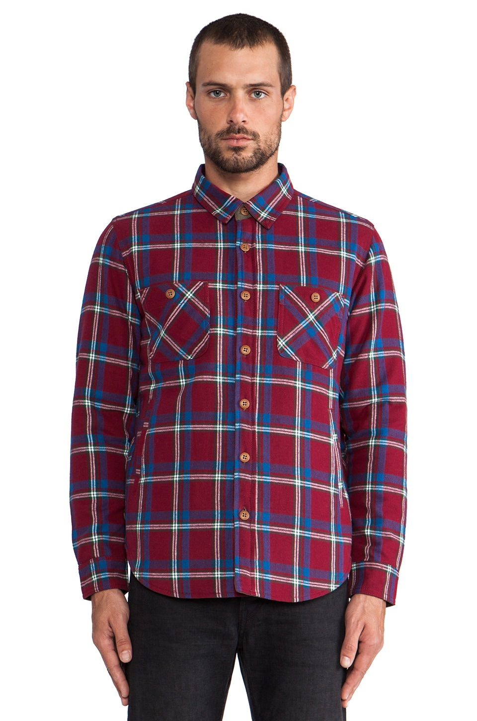 OURS Ty-Po Shirt Jacket in Burgundy Plaid