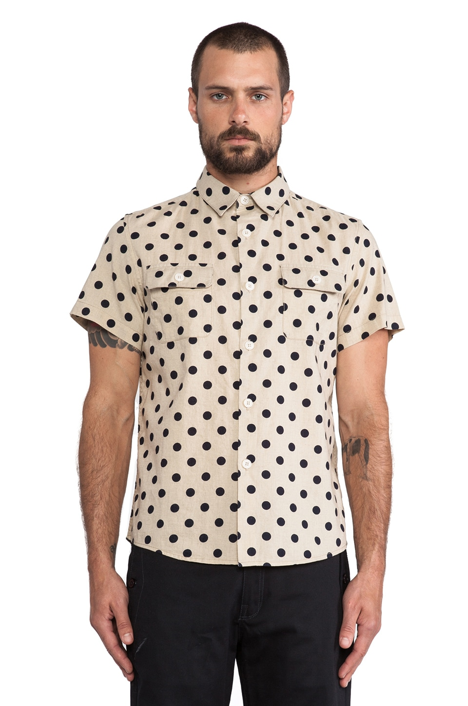 OURS Mid Century Shirt in Natural & Navy Polka Dot