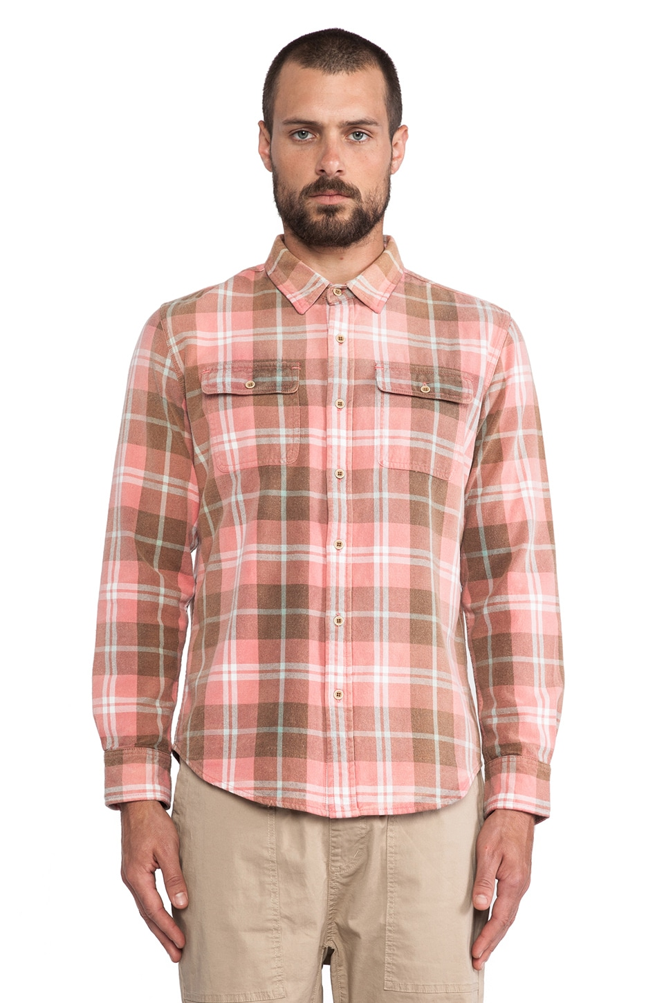 OURS Aloha Flannel in Salmon & Natural Plaid