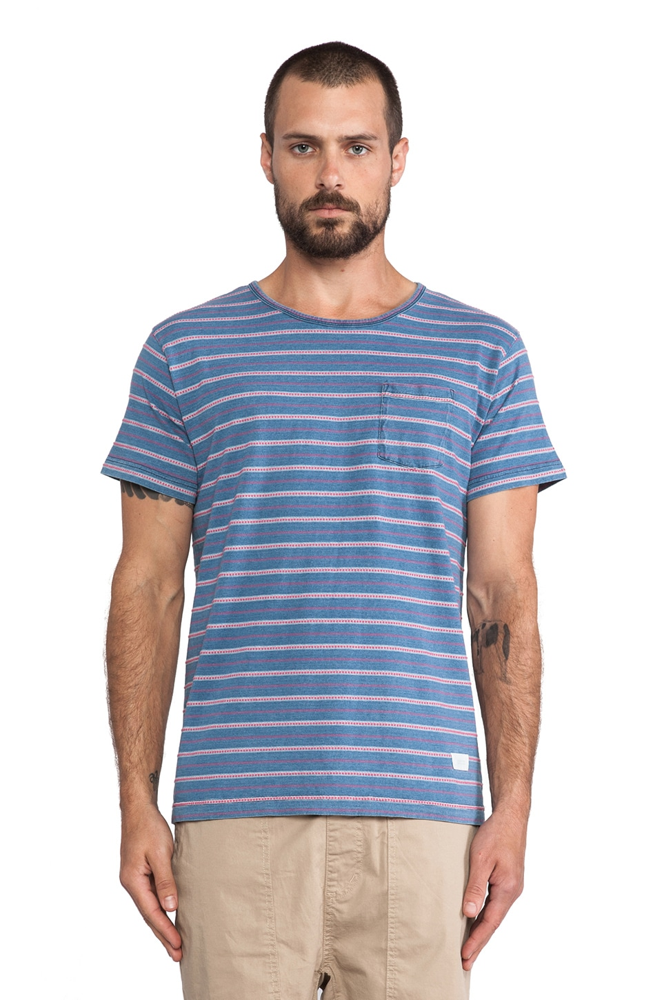 OURS Indigo Pocket Tee in Red Stripe