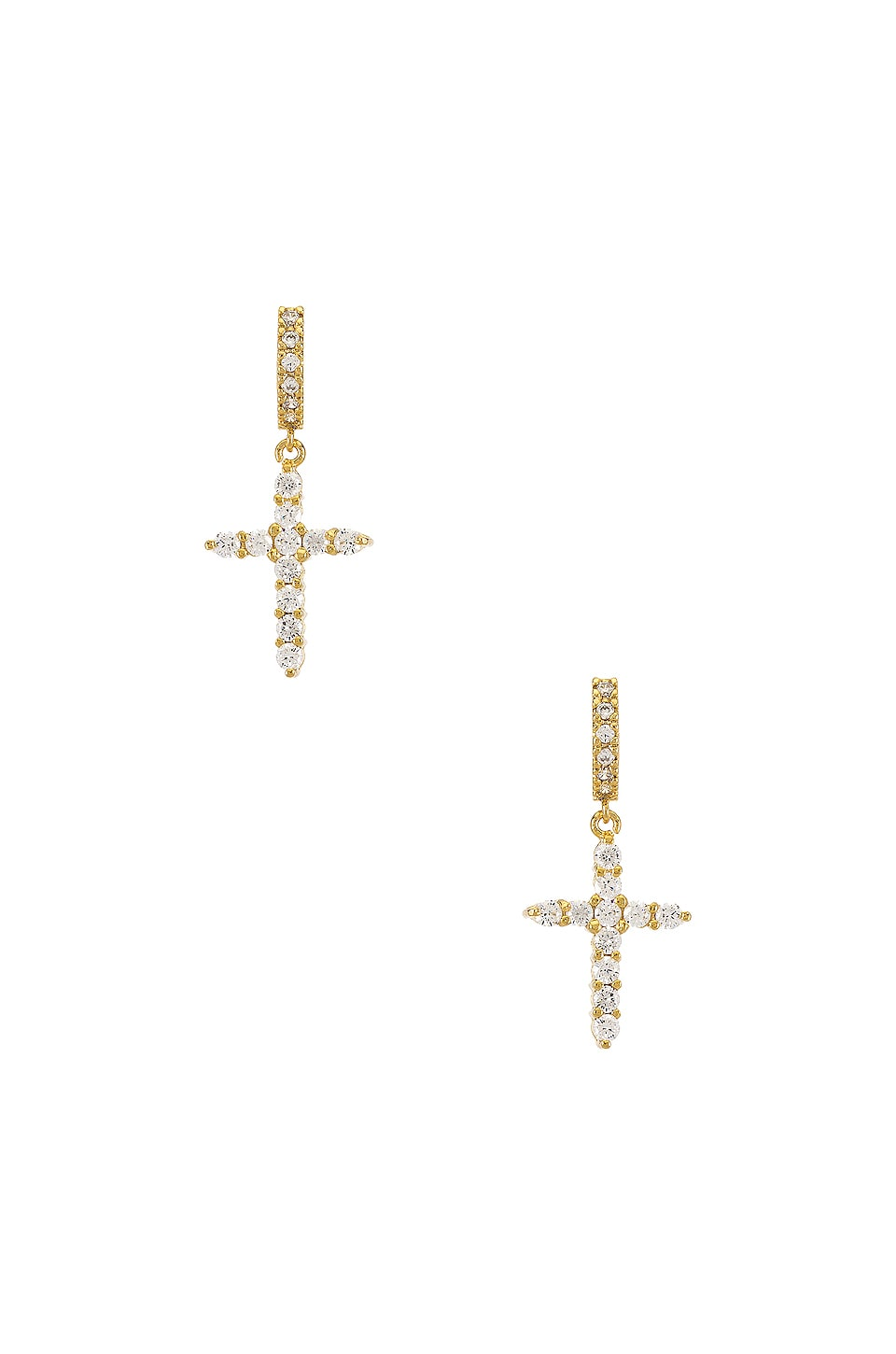 Paradigm Sparkle Cross Hoops in Gold
