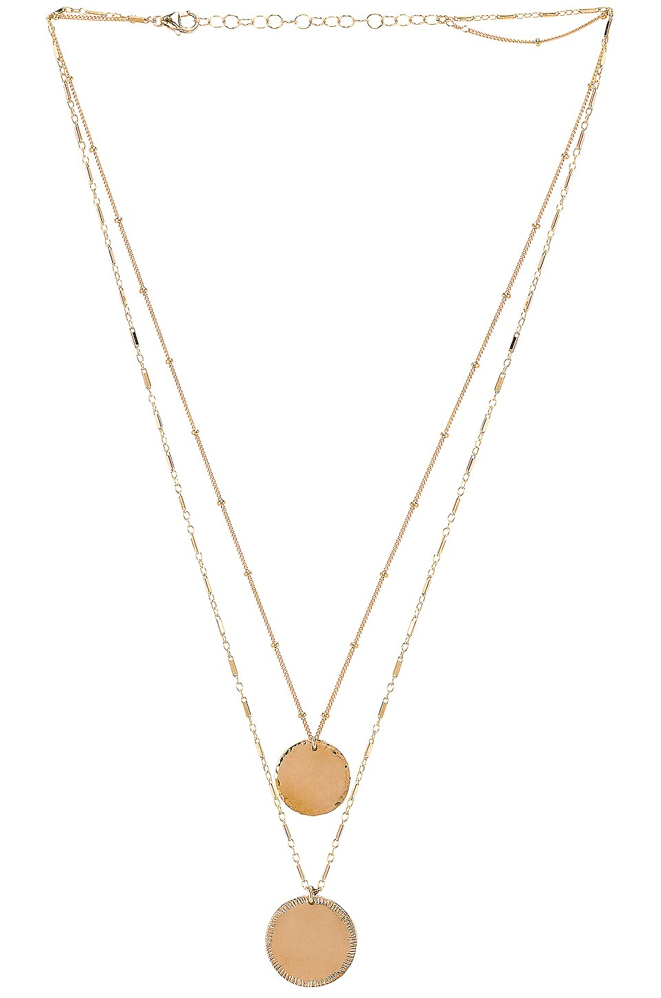 Paradigm Double Coin Necklace in Gold