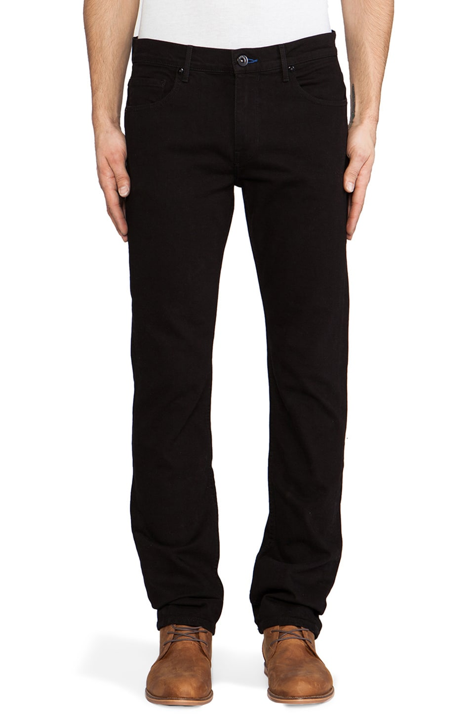 Paige Denim Normandie Slim Straight in Black Overdye