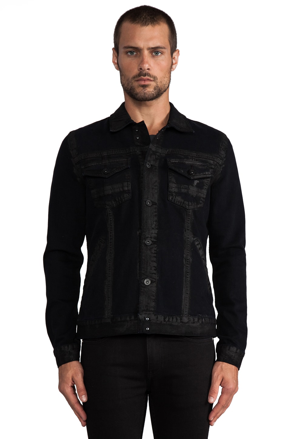 Paige Denim Scout Denim Jacket in Black Gold