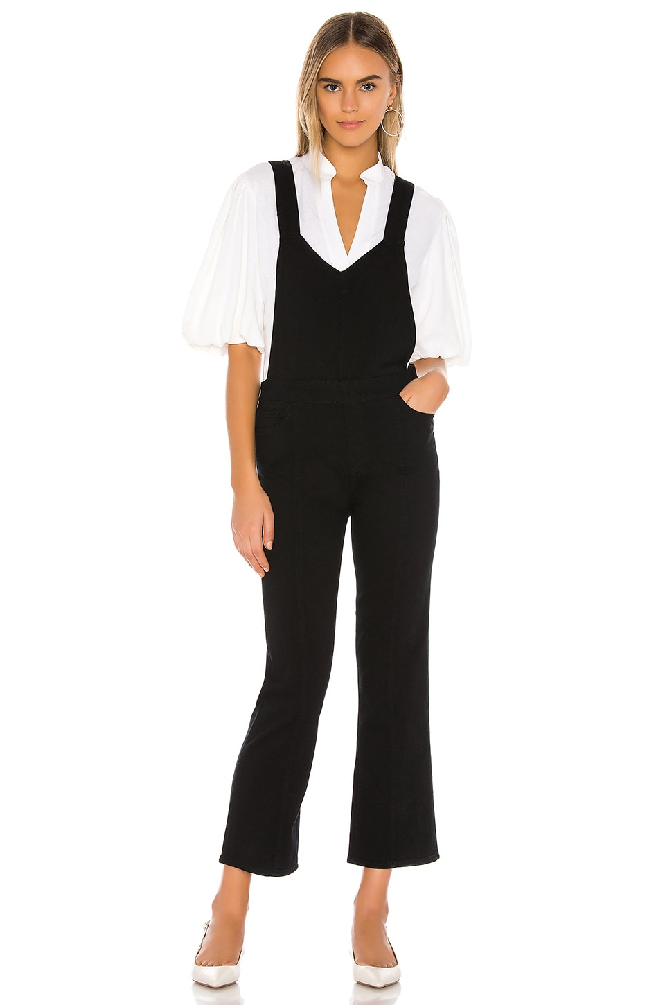 PAIGE Atley Ankle Flare Overall with Seaming in Black Overdye