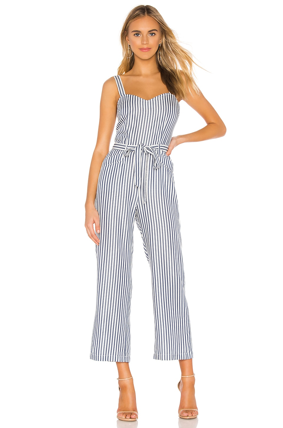 PAIGE Emma Jumpsuit in White & Navy