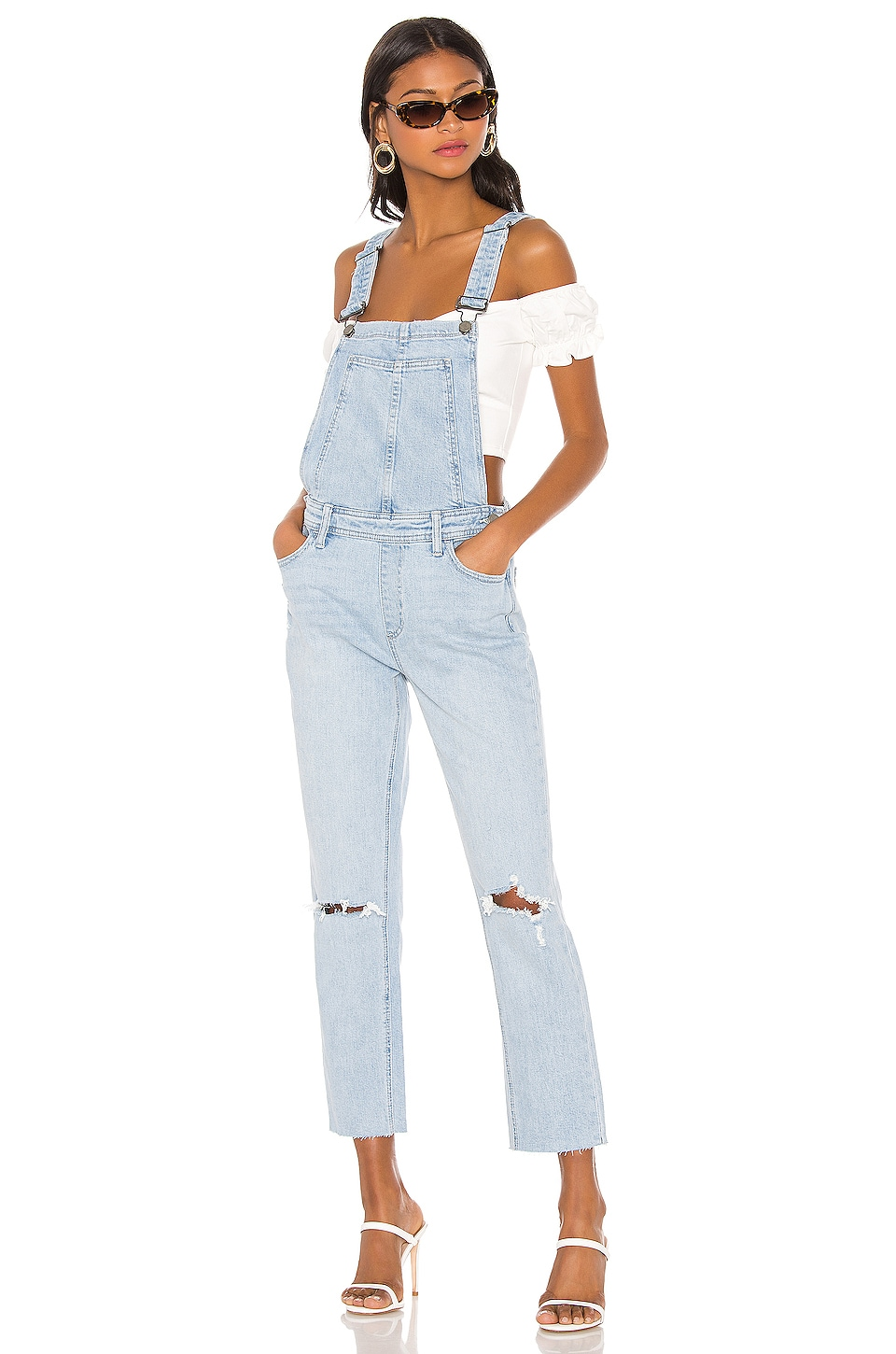 PAIGE High Rise Sierra Overall in Lindon Destructed