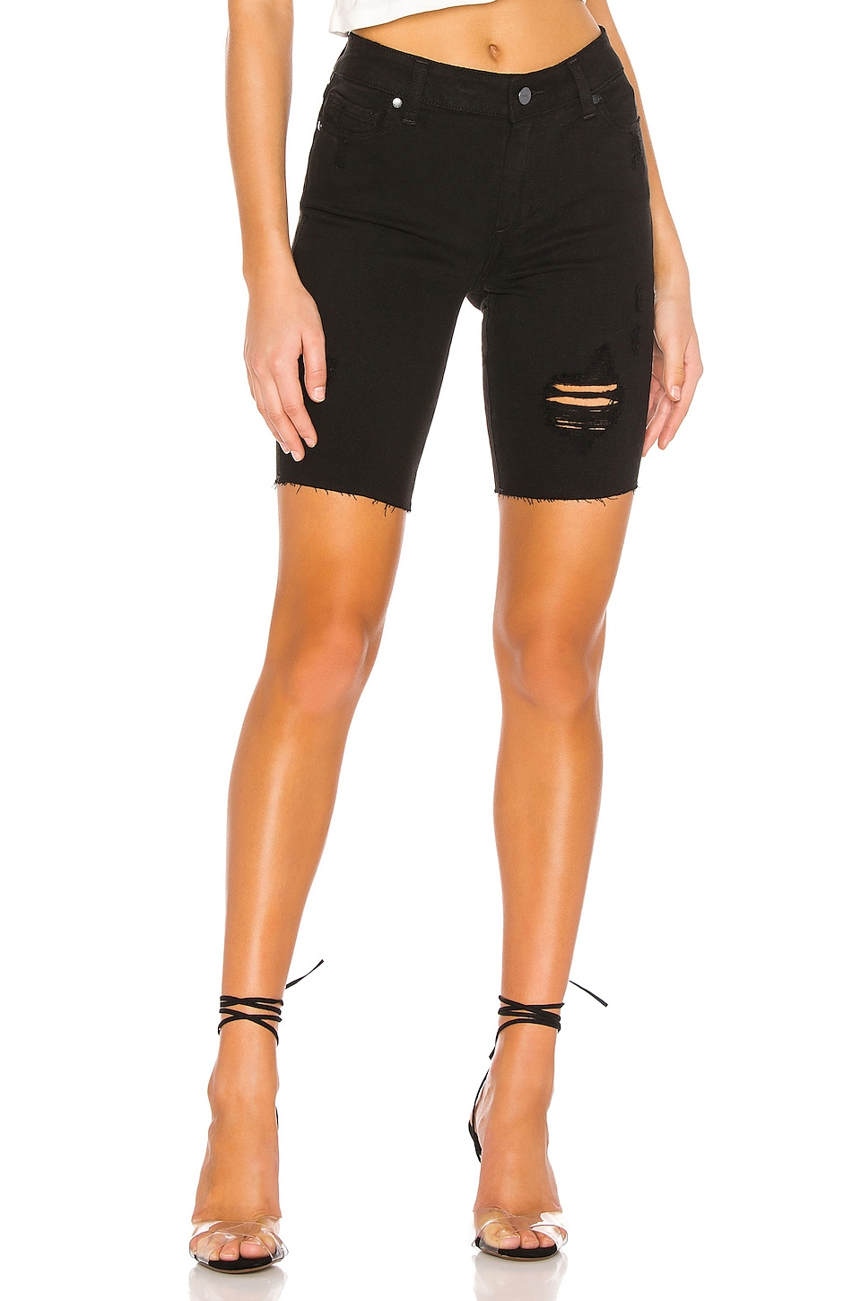 PAIGE Jax Cut Off Short in Night Rider Destructed