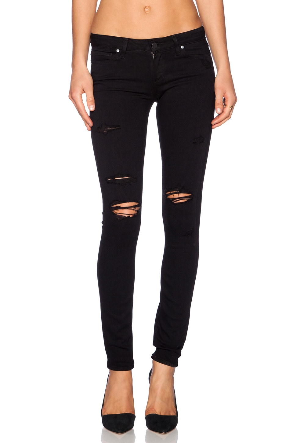 PAIGE Verdugo Ultra Skinny in Black Shadow Destructed | REVOLVE