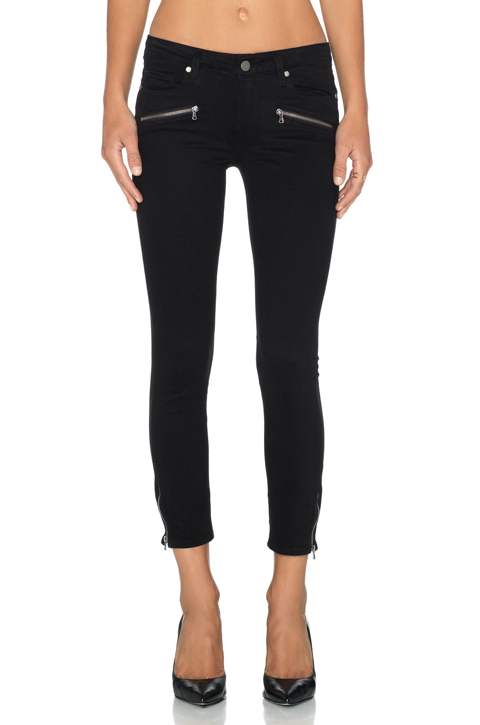 PAIGE Jane Zip Crop Skinny in Black Overdye