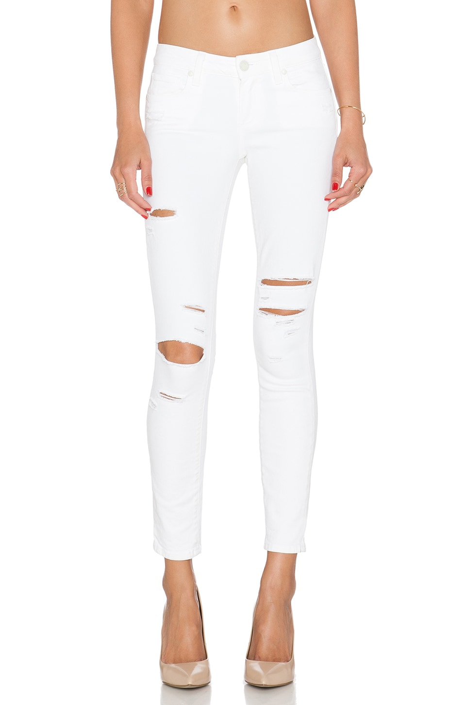 PAIGE Verdugo Ankle Skinny in Shell Arlo Destructed