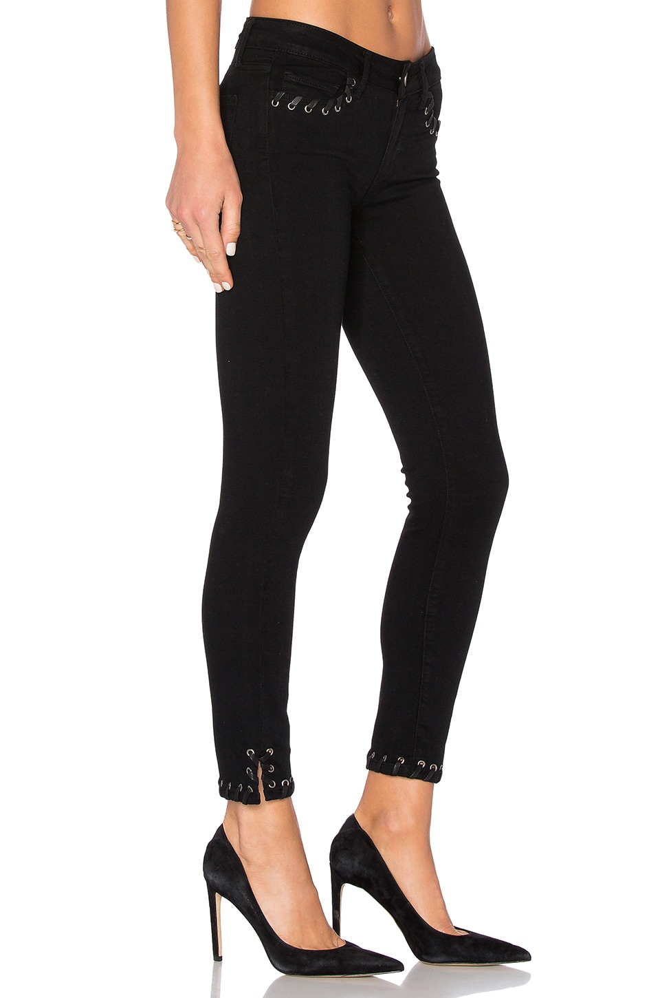PAIGE Verdugo Ankle Skinny in Black Shadow Lace Grommet
