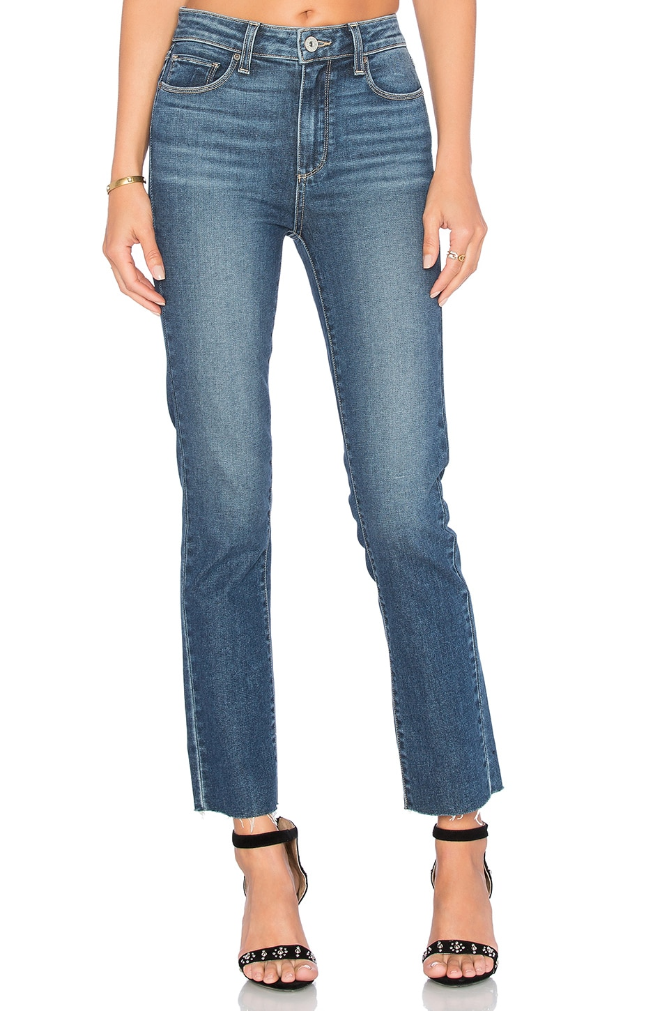 PAIGE Jacqueline Unfinished Hem Straight Leg in Axel