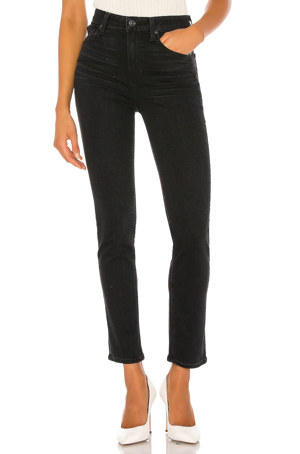 PAIGE Sarah Slim with Caballo Inseam in Black Willow