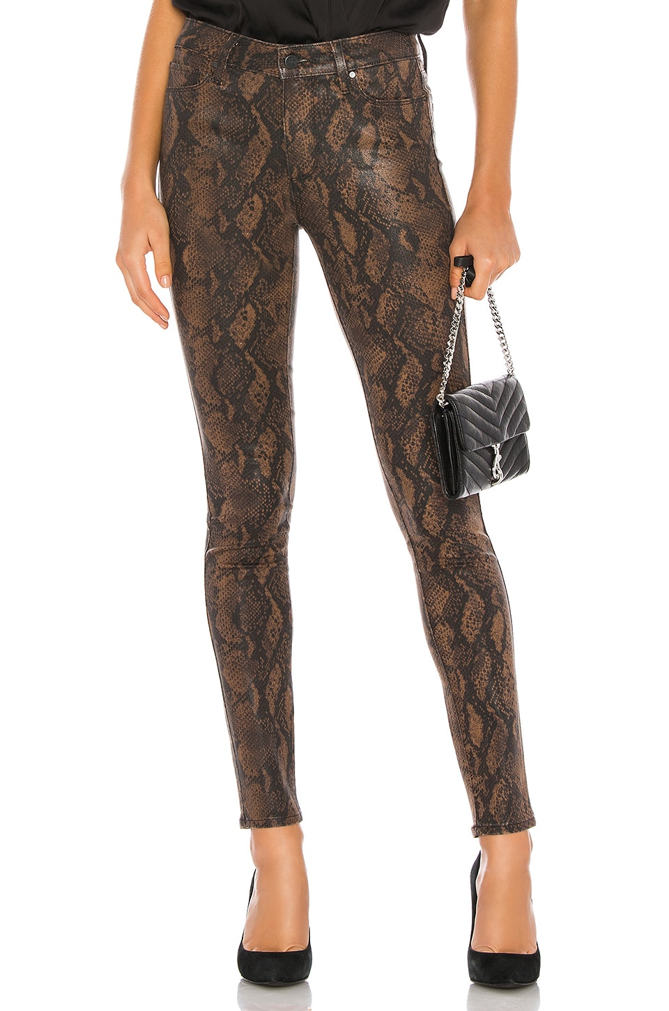 PAIGE Hoxton Ultra Skinny in Coated Brown Snake