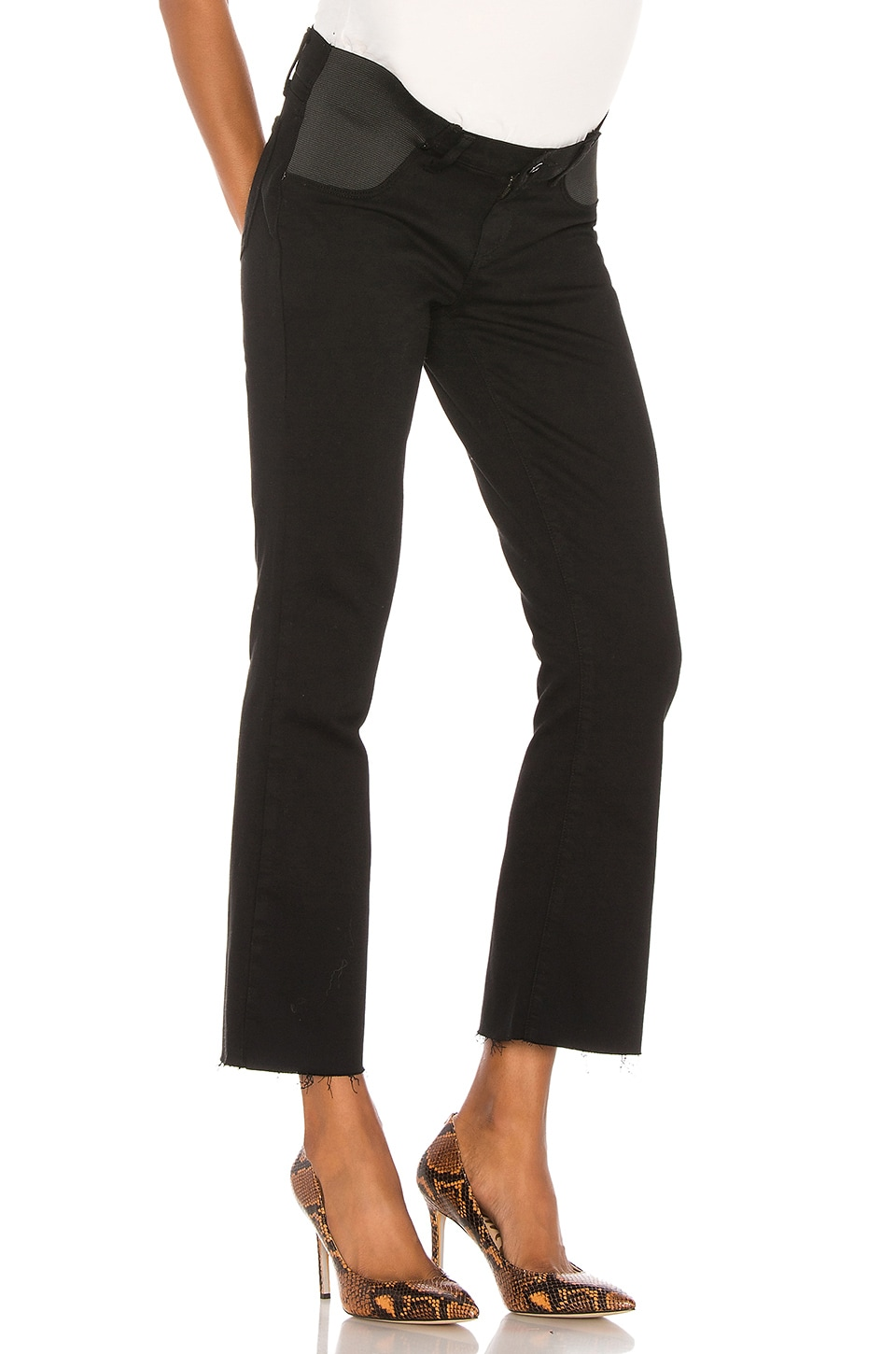 PAIGE Maternity Colette Crop in Black Shadow
