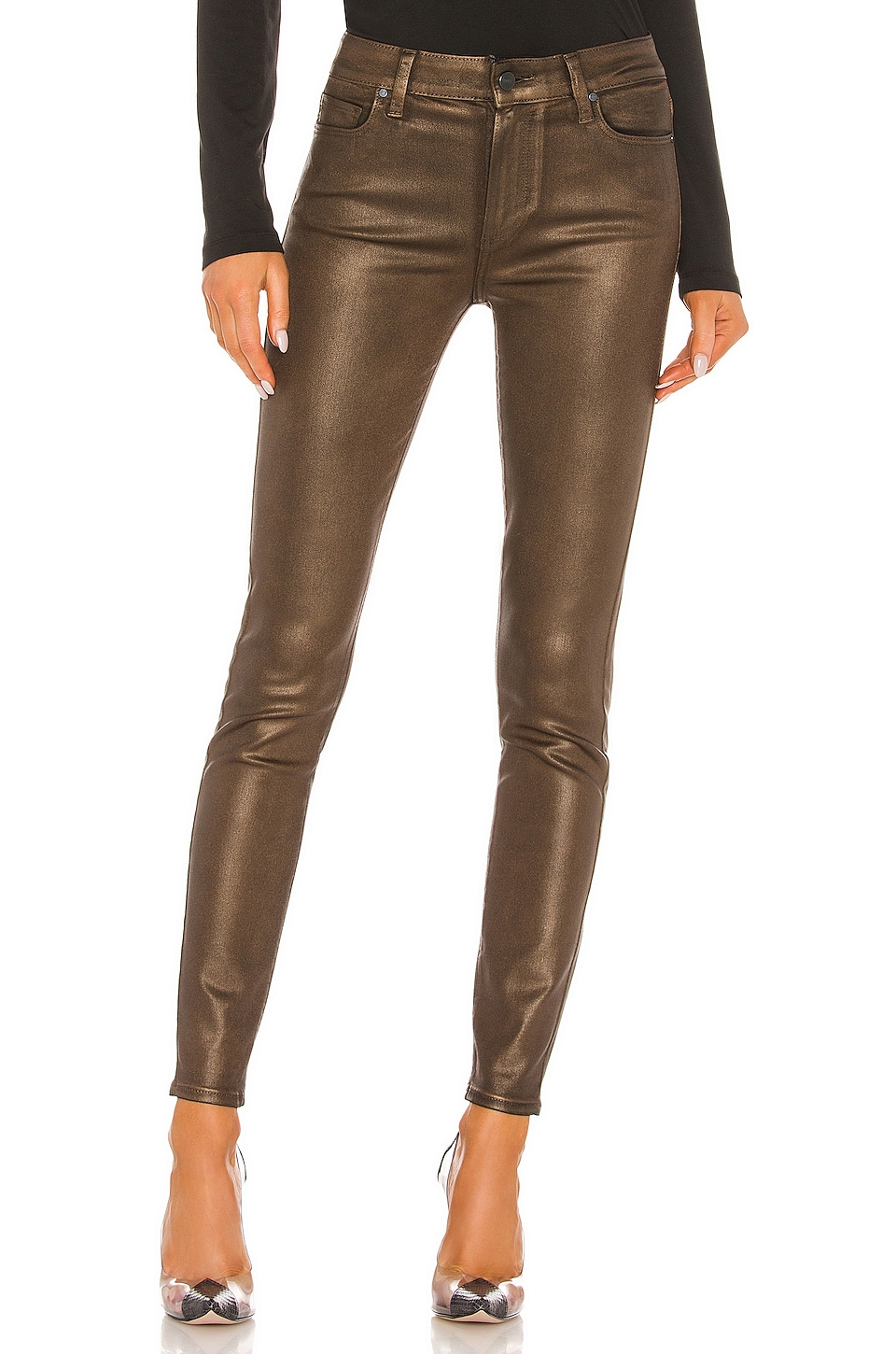 PAIGE Hoxton Coated Ultra Skinny in Pearlized Copper Coating