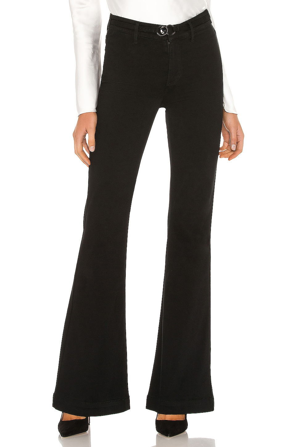 PAIGE Clean Front Genevieve with Buckle Detail in Black Shadow