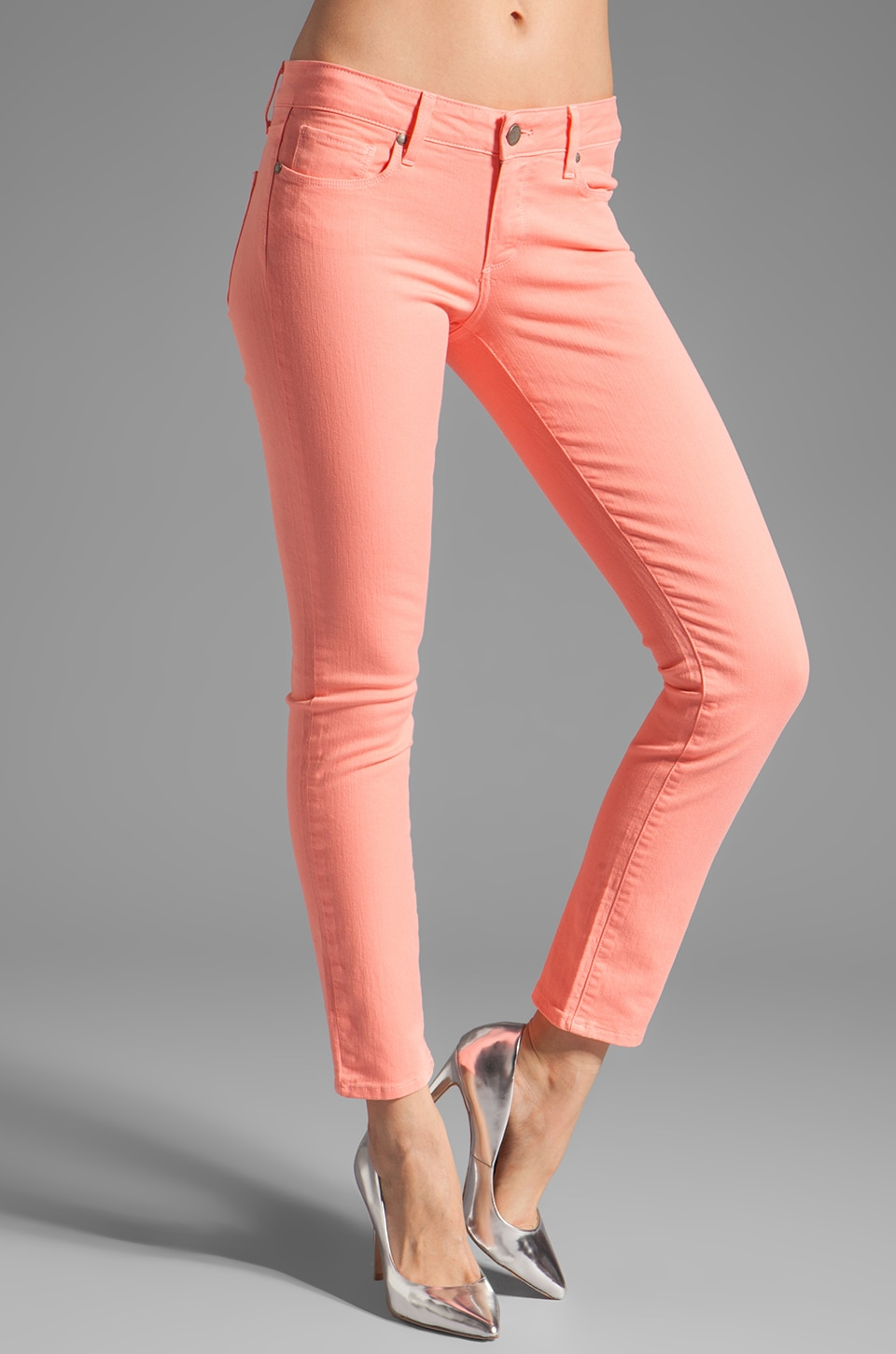 Paige Denim Skyline Ankle Peg in Flamingo