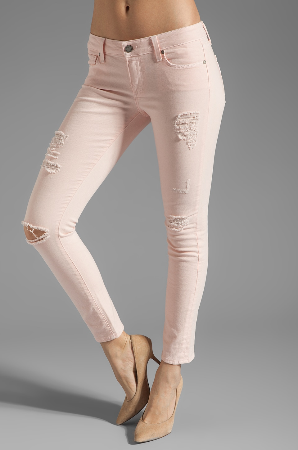 Paige Denim Destructed Skyline Ankle Peg in Blossom