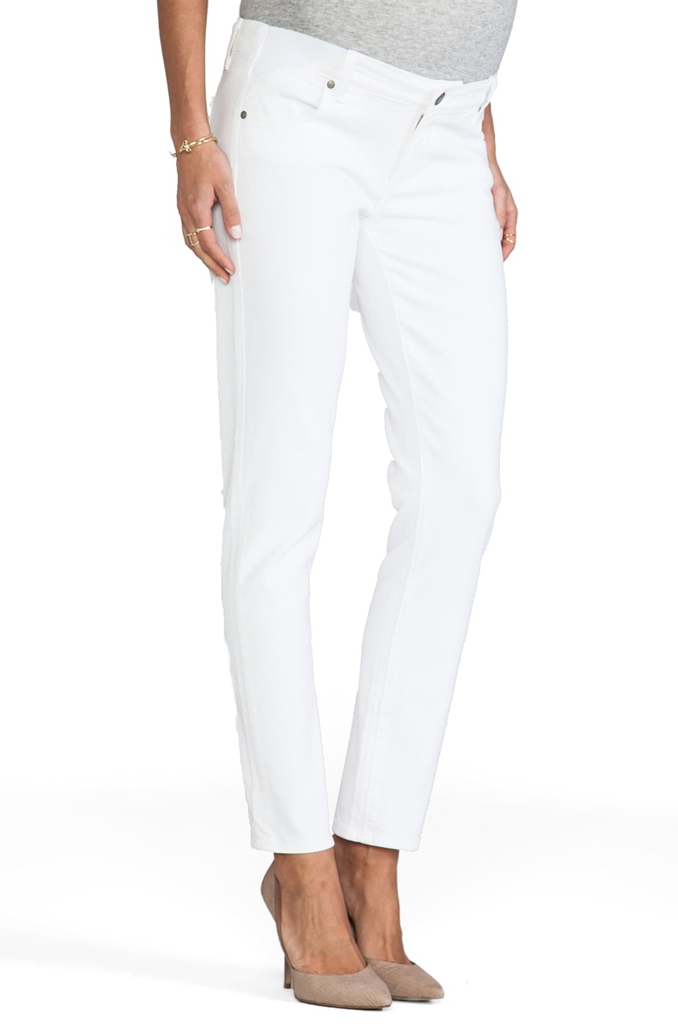 Paige Denim Jean Skyline Maternité 7/8 en Blanc Optique