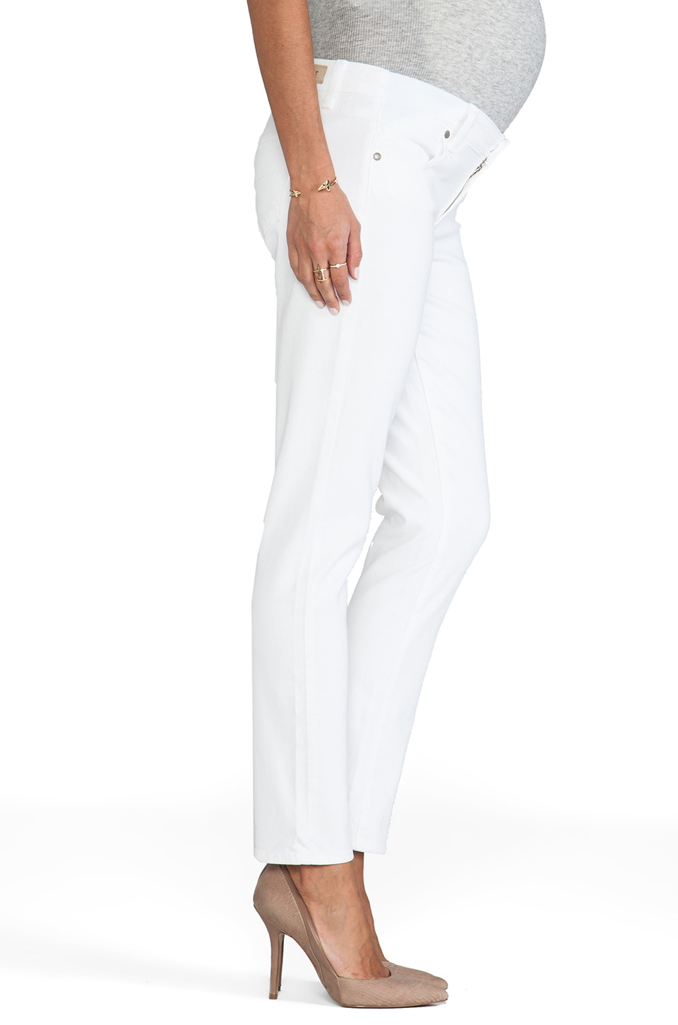 Paige Denim Skyline Ankle Peg Maternity in Optic White