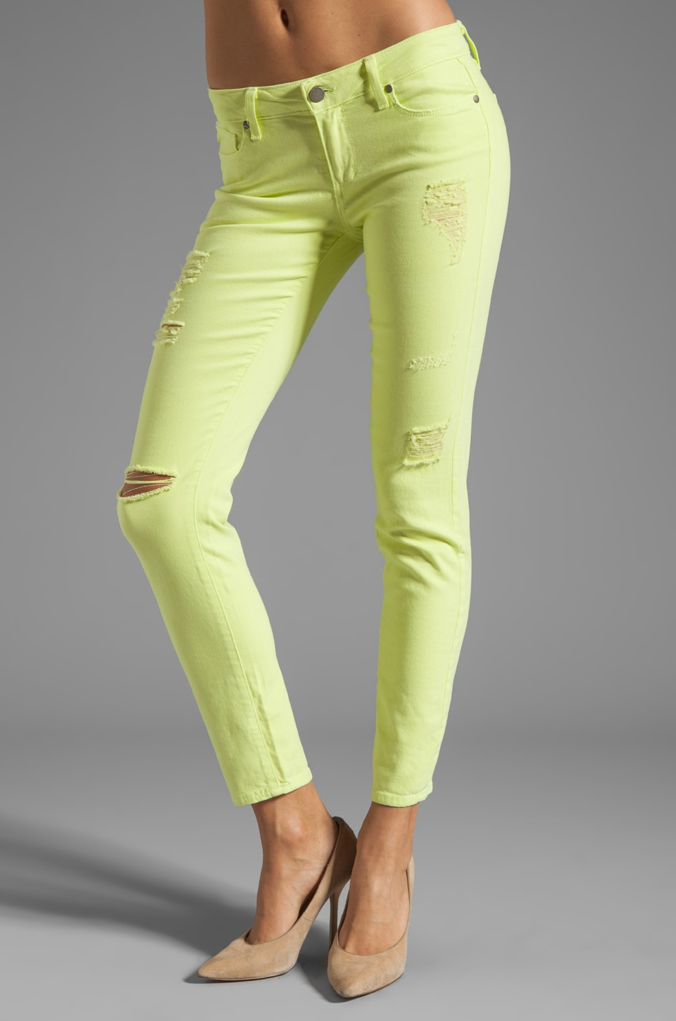 Paige Denim Destructed Skyline Ankle Peg in Citron