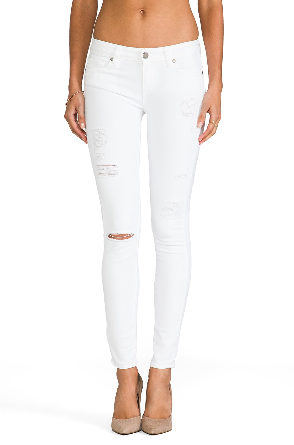 PAIGE Denim Verdugo Ultra Skinny in Optic White Destructed