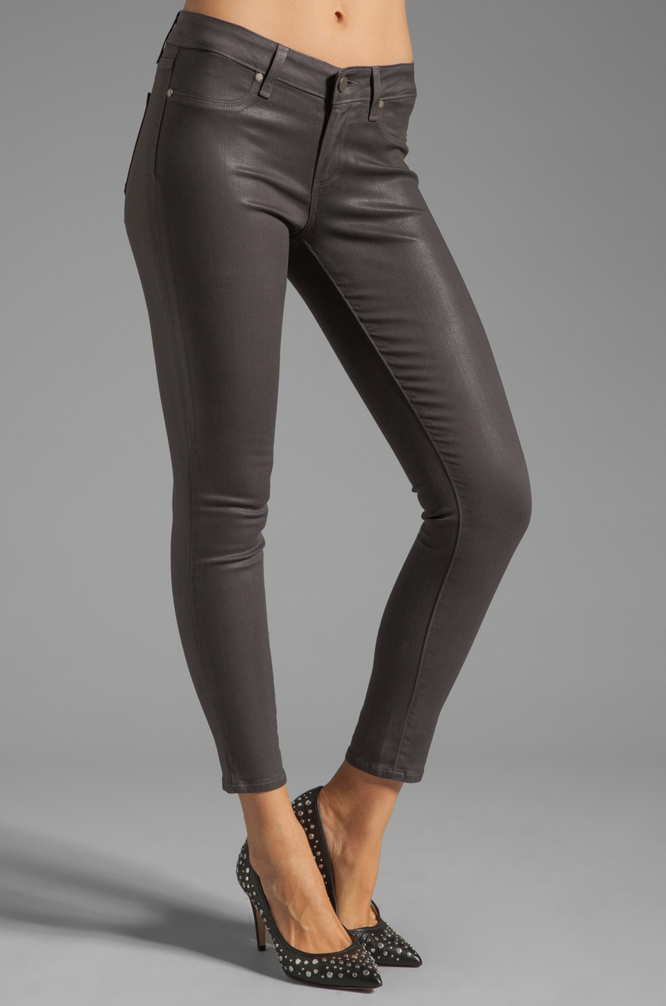 Paige Denim Verdugo Silk Coated Ankle in City Fog