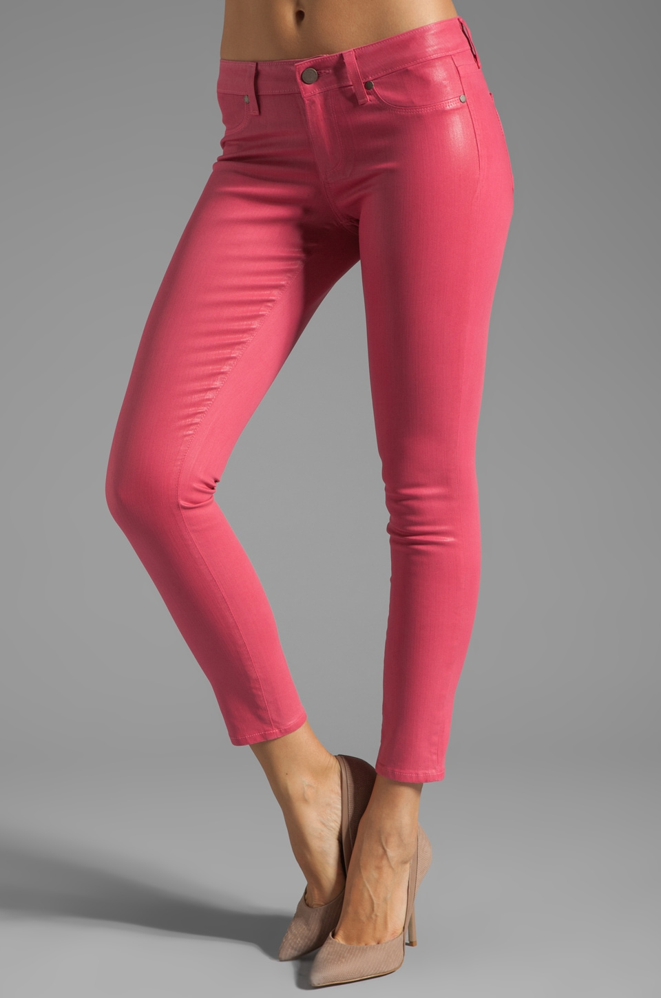 Paige Denim Verdugo Silk Coated Ankle in Watermelon