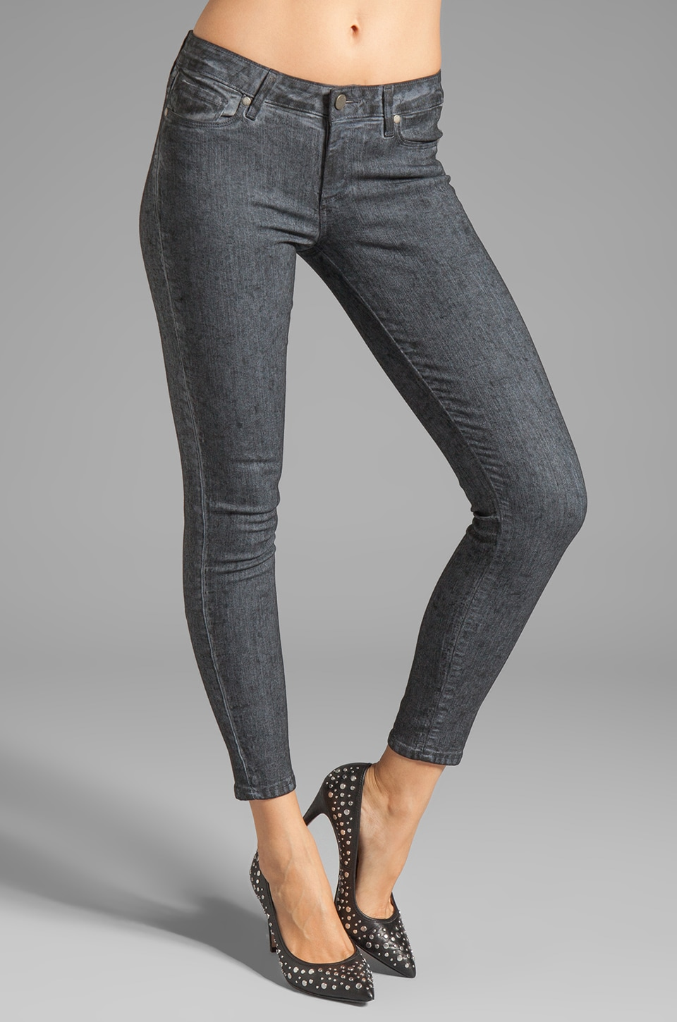 Paige Denim Verdugo Ankle Skinny in Black Crystalline