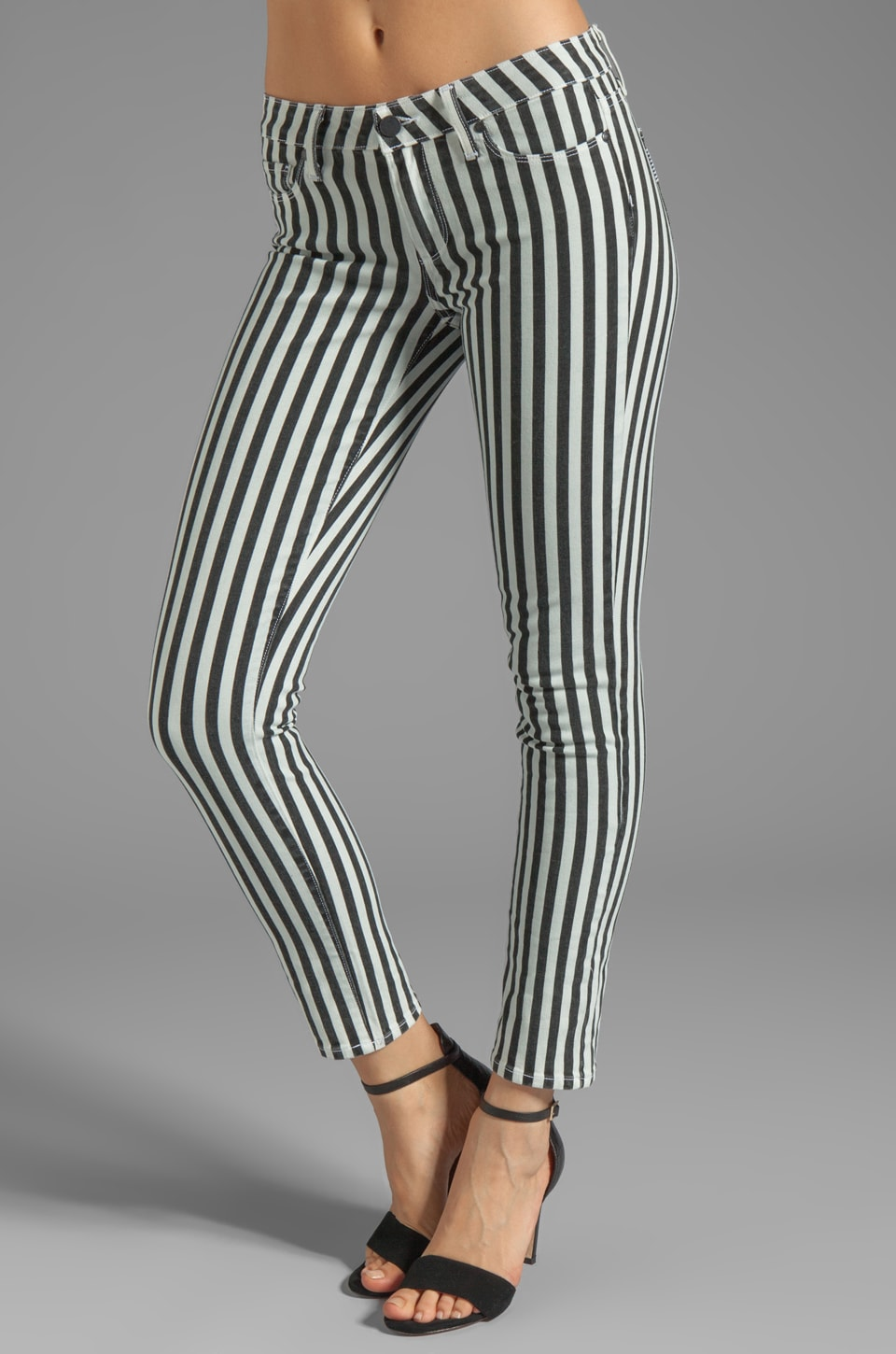 PAIGE Denim Skyline Ankle Peg Jean London Stripe in Black and White