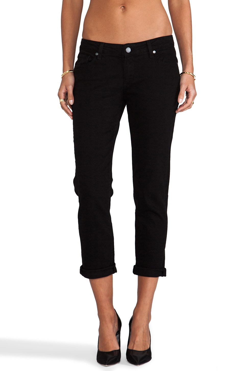 PAIGE Denim James Straight Crop in Black Overdye