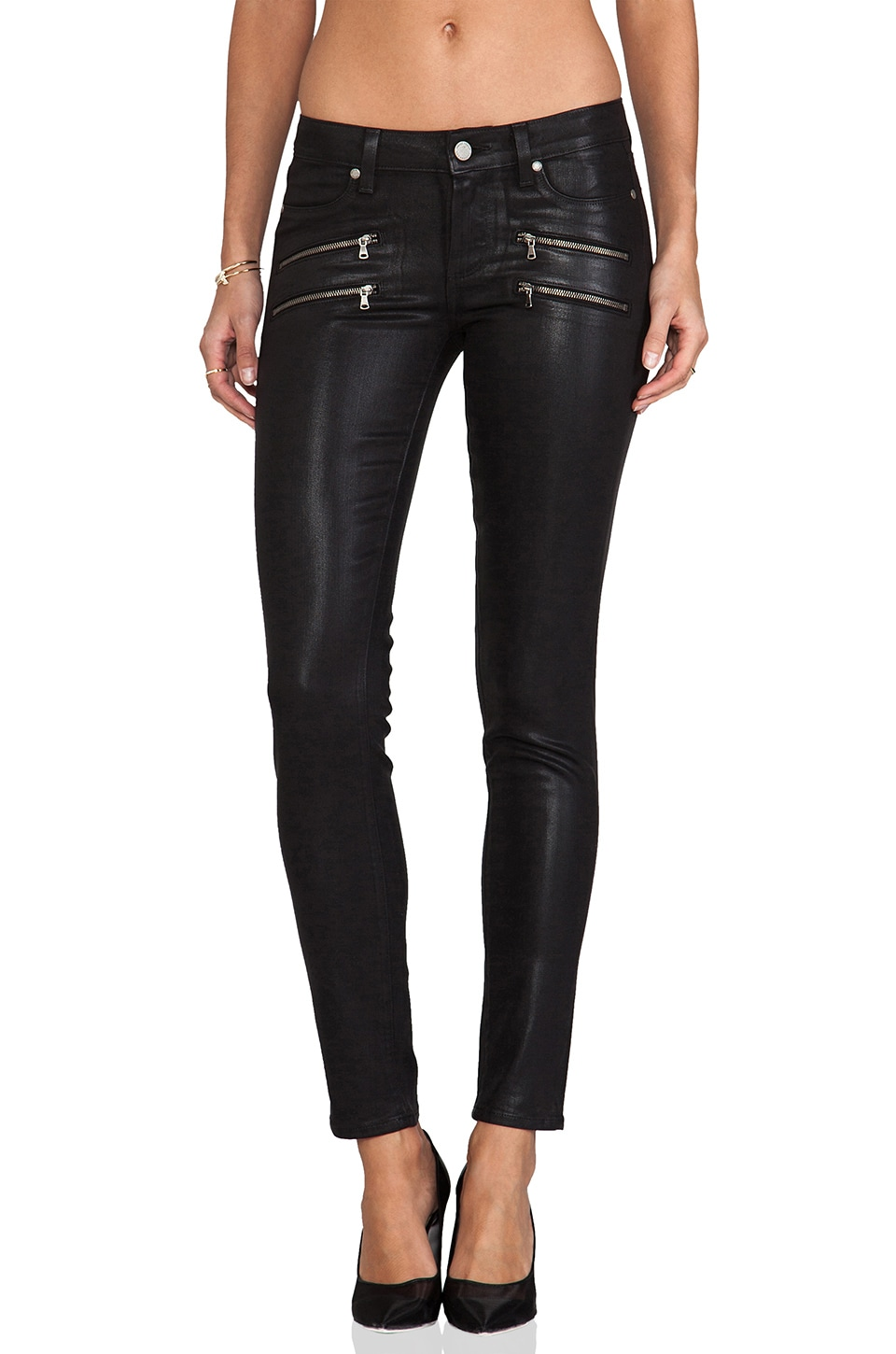 PAIGE Denim Edgemont Ultra Skinny Silk Coating in Black
