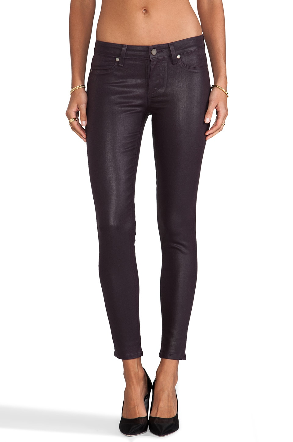 PAIGE Denim Verdugo Skinny Ankle in Black Cherry
