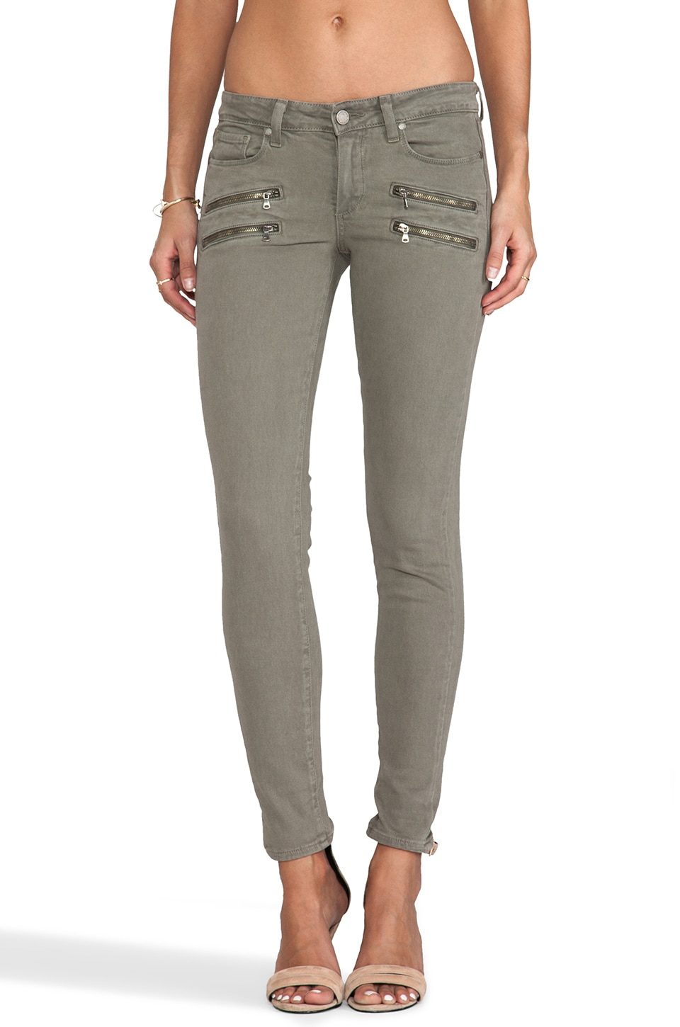 Paige Denim Edgemont Ultra Skinny with Zippers in Fatigue Green