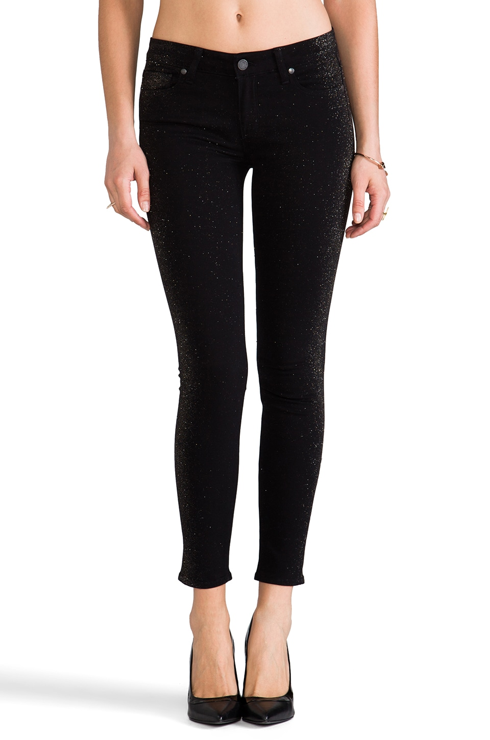 PAIGE Denim Verdugo Shimmer Tuxedo in Black and Gold