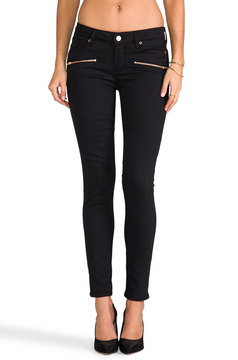 PAIGE Denim Indio Zip Ultra Skinny in Steel Grey