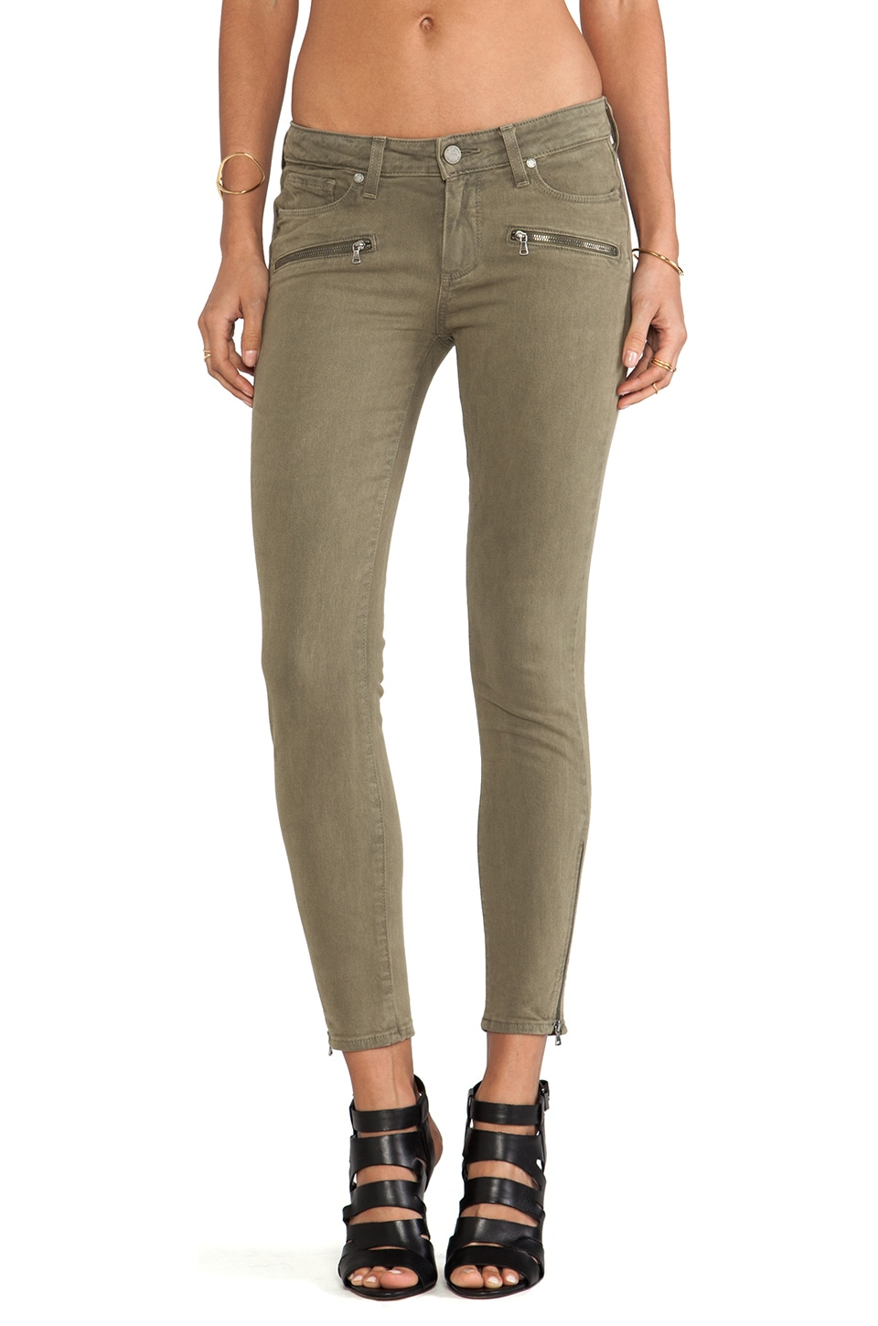 Paige Denim Jane Zip in Fatigue Green